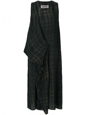Платье в клетку Uma Wang. Цвет: коричневый
