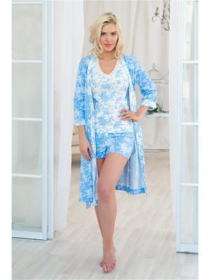 Домашний костюм Mia Cara. Цвет: голубой, кремовый