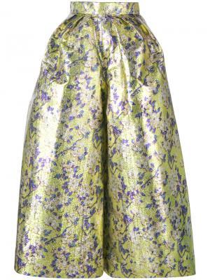 Широкие укороченные брюки с цветочным узором Delpozo. Цвет: жёлтый и оранжевый