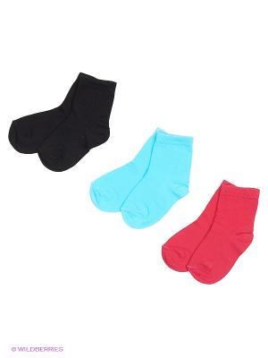 Носки - 3 пары Гамма. Цвет: малиновый, черный