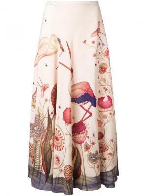 Юбка с принтом фламинго Vilshenko. Цвет: телесный