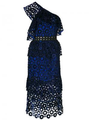 Платье миди на одно плечо Self-Portrait. Цвет: синий