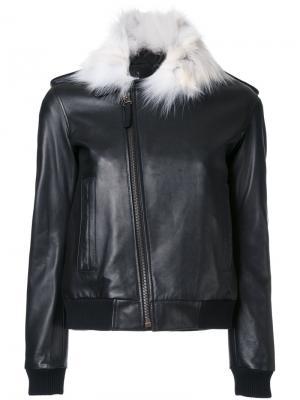 Куртка с контрастным воротником Anthony Vaccarello. Цвет: чёрный