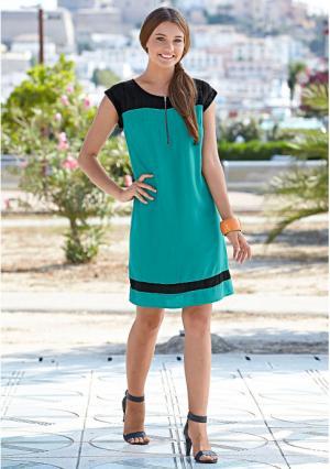 Платье Y.O.U.. Цвет: черный/бирюзовый