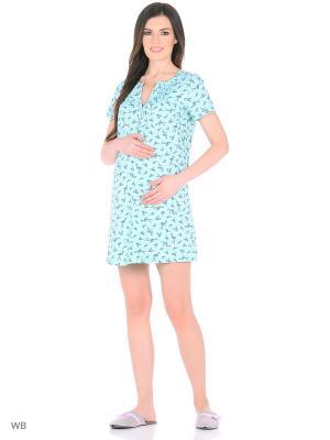Сорочка для беременных и кормящих ФЭСТ. Цвет: зеленый, серый