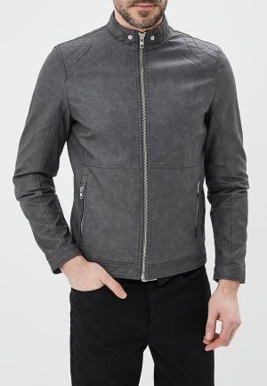 Куртка кожаная Springfield. Цвет: серый
