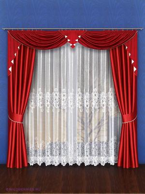 Комплект штор для гостиной Wisan. Цвет: бордовый, белый