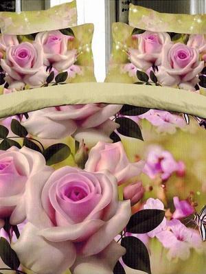 Постельное белье Микрофибра 3D ЕВРО Чайная роза 2175 МарТекс. Цвет: горчичный