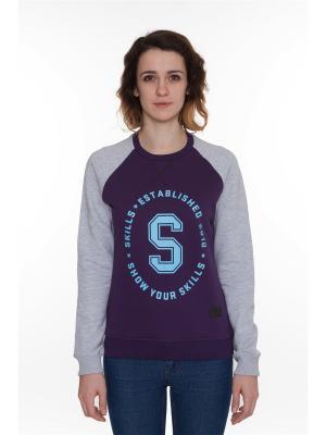 Толстовка SKILLS W Just S Crewneck. Цвет: темно-фиолетовый, серый меланж, фиолетовый