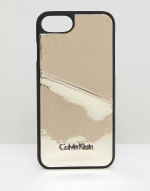 Calvin Klein Чехол металлик для iPhone 6/6s/7/8 с карманом карт. Цвет: золотой