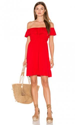 Платье с открытыми плечами paloma VAVA by Joy Han. Цвет: красный
