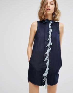 Vale Цельнокройное платье с бахромой. Цвет: синий