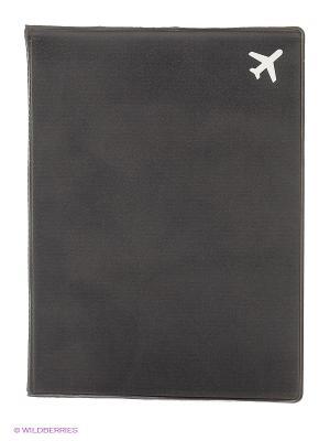 Обложка для паспорта Самолет (черная) Kawaii Factory. Цвет: черный