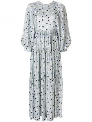 Длинное платье в горох Erika Cavallini. Цвет: серый