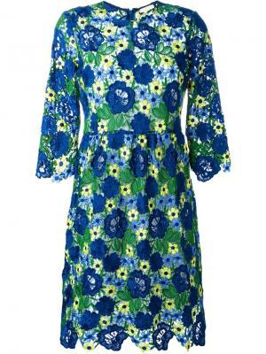 Кружевное платье миди P.A.R.O.S.H.. Цвет: синий