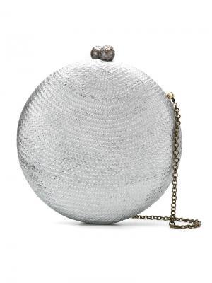 Круглый клатч на цепочке Serpui. Цвет: металлический