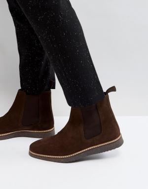 ASOS Коричневые замшевые ботинки челси на черной танкетке. Цвет: рыжий