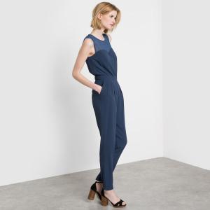 Комбинезон с брюками без рукавов из вуали BEST MOUNTAIN. Цвет: темно-синий