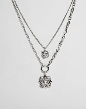 ASOS Ярусное ожерелье с подвесками в винтажном стиле DESIGN. Цвет: серебряный