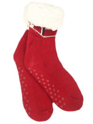 Носки-тапочки с мехом HOBBY LINE. Цвет: красный