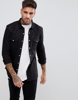 ASOS Черная джинсовая рубашка скинни в стиле вестерн. Цвет: черный