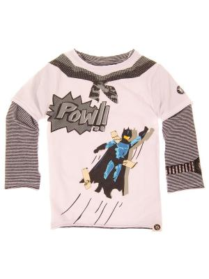 Лонгслив Pow! Super Hero Twofer Tee Mini Shatsu. Цвет: серый, белый