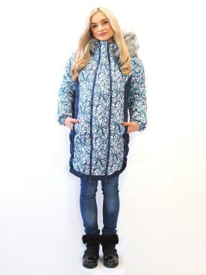 Куртка Адель. Цвет: темно-синий, белый