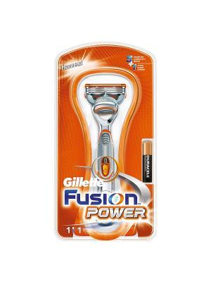 Бритва FUSION Power, с 1 сменной кассетой GILLETTE. Цвет: серебристый