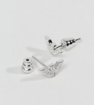 Emporio Armani Серьги-гвоздики со стилизованным орлом и стразами. Цвет: серебряный