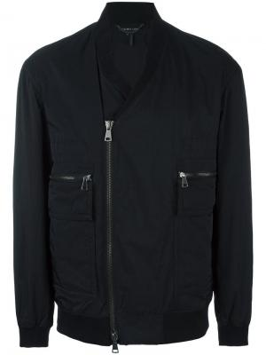 Куртка-бомбер с V-образным вырезом Helmut Lang. Цвет: чёрный