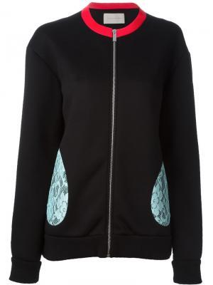 Куртка с контрастными кружевными деталями Christopher Kane. Цвет: чёрный