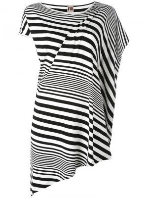 Асимметричная футболка в полоску IM Isola Marras I'M. Цвет: чёрный