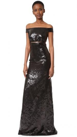 Вечернее платье с открытыми плечами и блестками KAUFMANFRANCO. Цвет: оникс