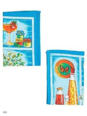 Набор полотенец вафельных кухонных Римейн. Цвет: синий