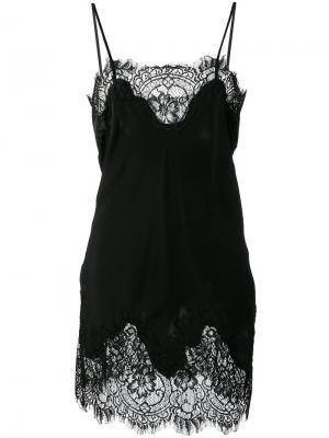 Платье-комбинация с кружевом Gold Hawk. Цвет: чёрный