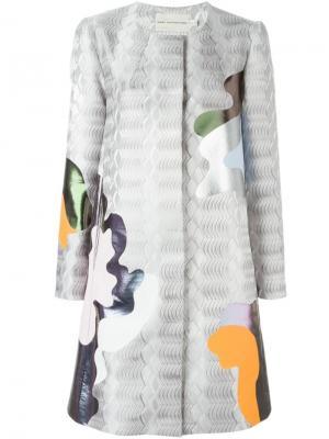 Пальто А-образного кроя Mary Katrantzou. Цвет: серый