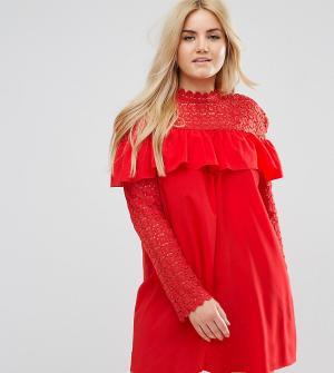 Club L Plus Платье с высоким воротом, длинными рукавами и кружевом кроше Pl. Цвет: красный