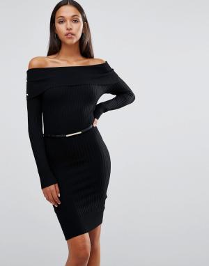 Lipsy Платье миди с широким вырезом и ремнем Michelle Keegan Loves. Цвет: черный