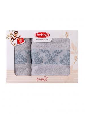 Махровое полотенце в коробке 50x90+70x140 RUZANNA ,св.голубое,100% хлопок HOBBY HOME COLLECTION. Цвет: светло-голубой