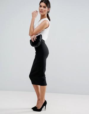 ASOS Длинная юбка-карандаш. Цвет: черный