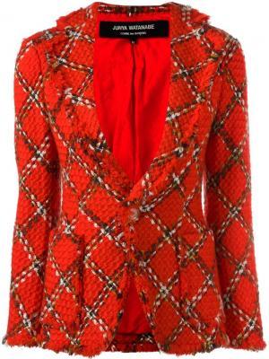Приталенный пиджак вязки букле в клетку Junya Watanabe Comme Des Garçons Vintage. Цвет: красный