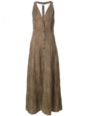 Платье макси в горох Dvf Diane Von Furstenberg. Цвет: коричневый