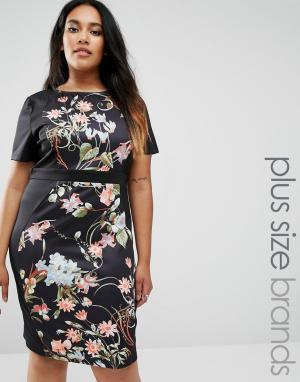 Praslin Короткое приталенное платье с боковыми вставками Plus Illusion. Цвет: черный