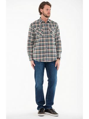 Рубашка Westrenger. Цвет: зеленый, оранжевый