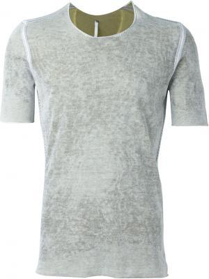 Приталенная футболка с линялым эффектом Label Under Construction. Цвет: серый