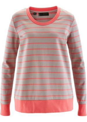 Свитшот (ярко-розовый/серо-коричневый меланж) bonprix. Цвет: ярко-розовый/серо-коричневый меланж
