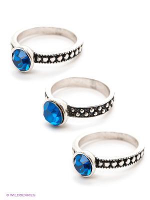 Кольцо, 3 шт. Lovely Jewelry. Цвет: серебристый, синий