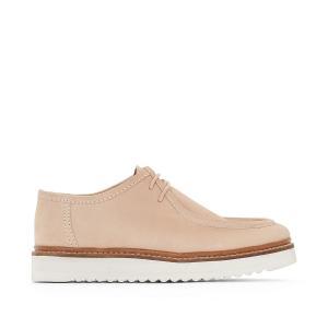 Ботинки-дерби кожаные La Redoute Collections. Цвет: телесный