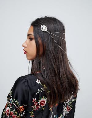ASOS Цепочка для волос с камнями. Цвет: золотой