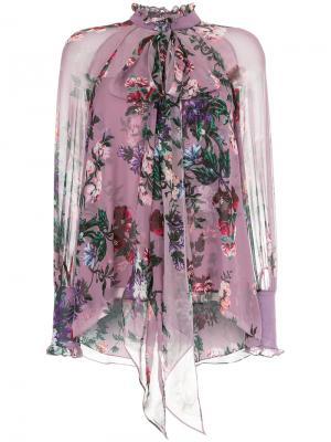 Плиссированное платье с бантом Erdem. Цвет: розовый и фиолетовый